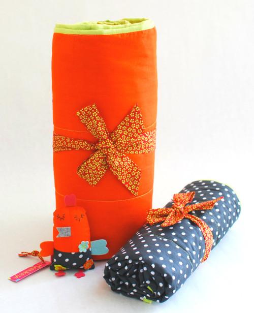 31'' x 31'' Gray & Orange Stroller Blanket