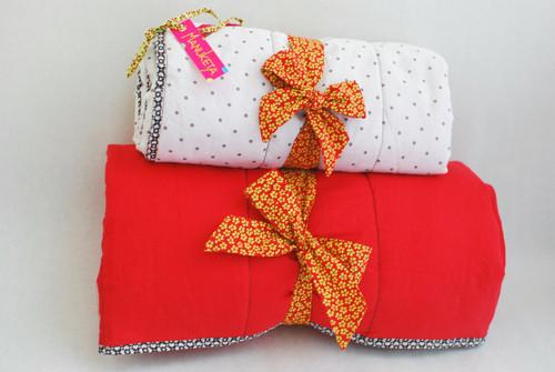 31'' x 31'' White & Red Polka Dot Stroller Blanket