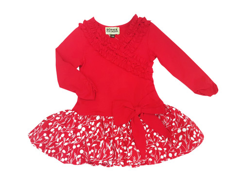 Red & White Floral Bubble Dress