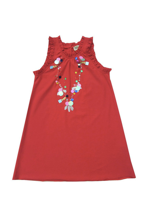 Carnation Sequin Necklace Dress