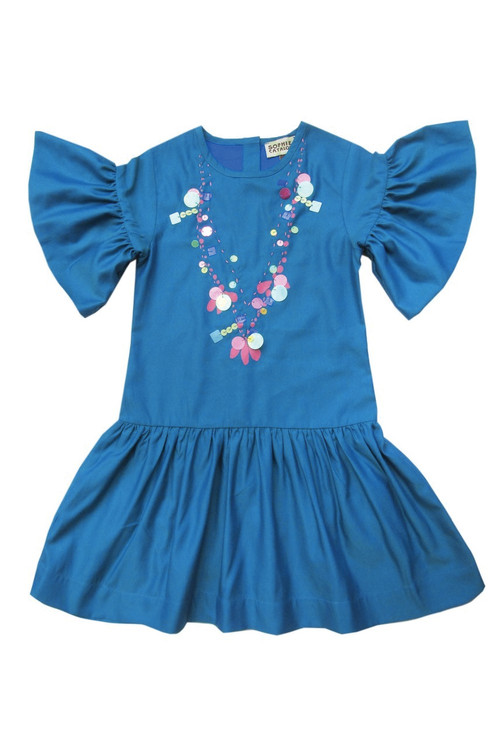 Teal Sequin Necklace Dress