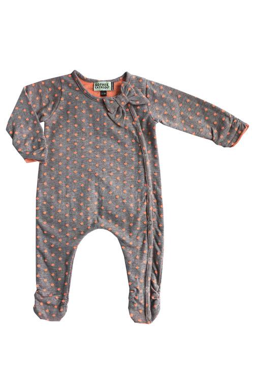 Infant Fluorescent Orange Polka Dot Knit Romper
