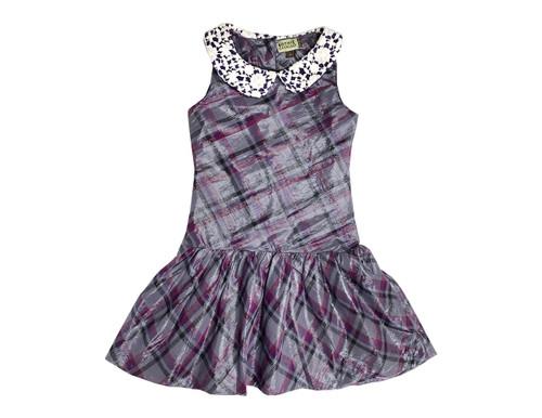 Sample Sale Plaid Purple Metallic Dress