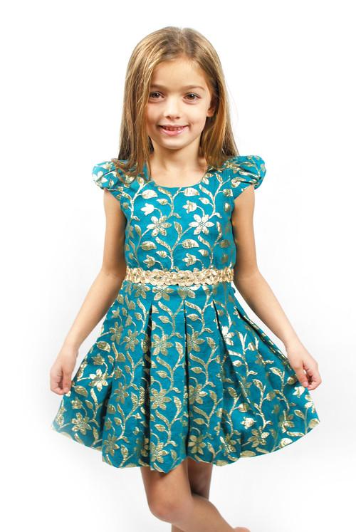 Teal Floral Brocade Dress