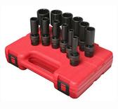 "Sunex 3677 3/8"" Dr. 12 Pt. 12 Pc. SAE Universal Deep Impact Socket Set"