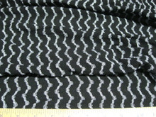 Discount Fabric  4 way stretch Mesh Lace  Black and Silver Waves LC204