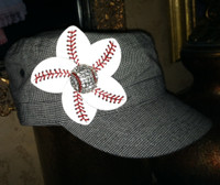 Baseball Flower Military Style Cap