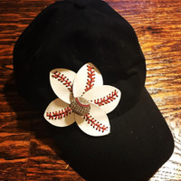 Blinged Baseball Flower Cap