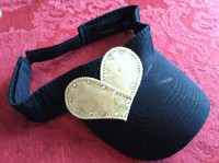 Blinged Baseball Heart Cap Hat or Visor