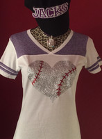 Whimsical Baseball Heart Tee In Glitter
