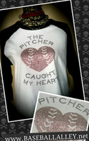 The Pitcher Catcher Caught My Heart Baseball Pitcher/Catcher Tee