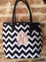 Personalized Baseball Chevron Tote