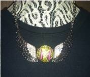 Bling Softball Wings Necklace