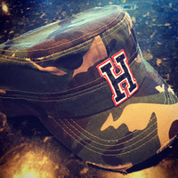 Distressed Military Style Camo Heath Hawk Cap