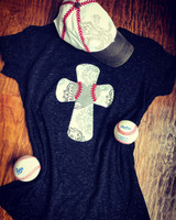 Chevron Cross Glitter Baseball Tee