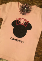 Personalized Disney Minnie Mouse Princess Tee in Glitter
