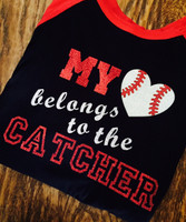 My Heart Belongs To The Catcher Baseball Mom Girlfriend Tee