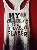 My Heart Belongs to a Ball Player Baseball Mom Faded Burnout Tank