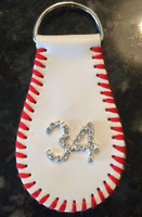 Baseball Key Chain With Rhinestone Number or Initial