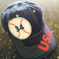 USA Baseball Cap with Player Number