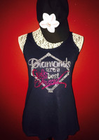 DIAMOND'S ARE A GIRL'S BEST FRIEND BASEBALL TANK IN RHINESTONES