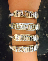 Wire Wrapped Faith Baseball Bangle Latch Bracelet