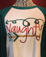 """Naughty"" Christmas Raglan"