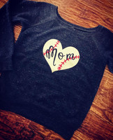 Baseball MOM Off Shoulder Fleece Charcoal