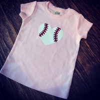 Baseball Glitter Short Sleeve Infant Tee