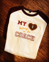 1 Sample My Heart Football Coach Raglan UNISEX XL Sleeves are Burgundy