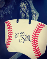 Baseball Tote Includes Monogram