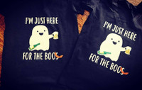 """I'm Just Here for the Boos"" Halloween Tee"