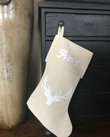 Personalized Rustic Chic Buck Christmas Stocking with Neutral Antlers