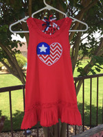 Fun patriotic flag toddler dress for July fourth celebrations.  Dress comes in toddler's sizes 3,4,5 and 6 by Kavio; dresses run small, order a size up.