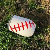 Insulated Stainless Steel Stemless Wine Goblet in Baseball Motif