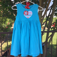 Summertime Dress in Aqua, Red, and Pink
