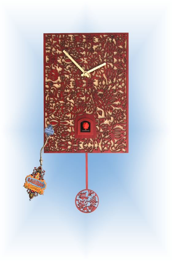 Rombach & Haas | snq1-3 | 12''H | Red Silhoutte Q | Modern | cuckoo clock | full view