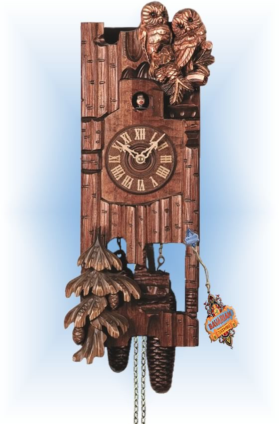 Rombach & Haas | 3523 | 21''H | Two Owls | Traditional | cuckoo clock | full view