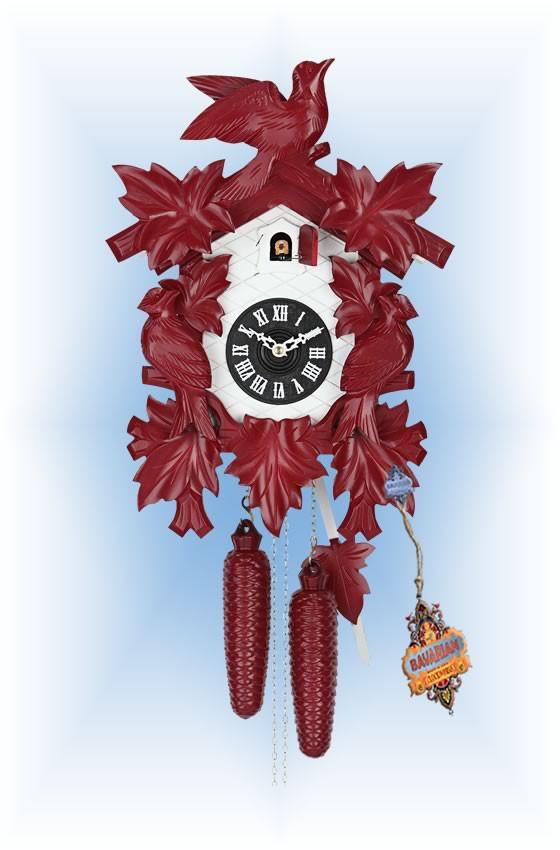 Hekas | 1606R | 8''H | Red Mod | Modern | cuckoo clock | full view