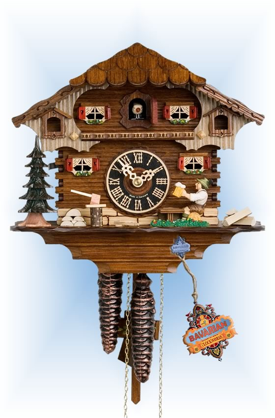 Hones | 164 | 10''H | Break Time | Chalet style | cuckoo clock | full view