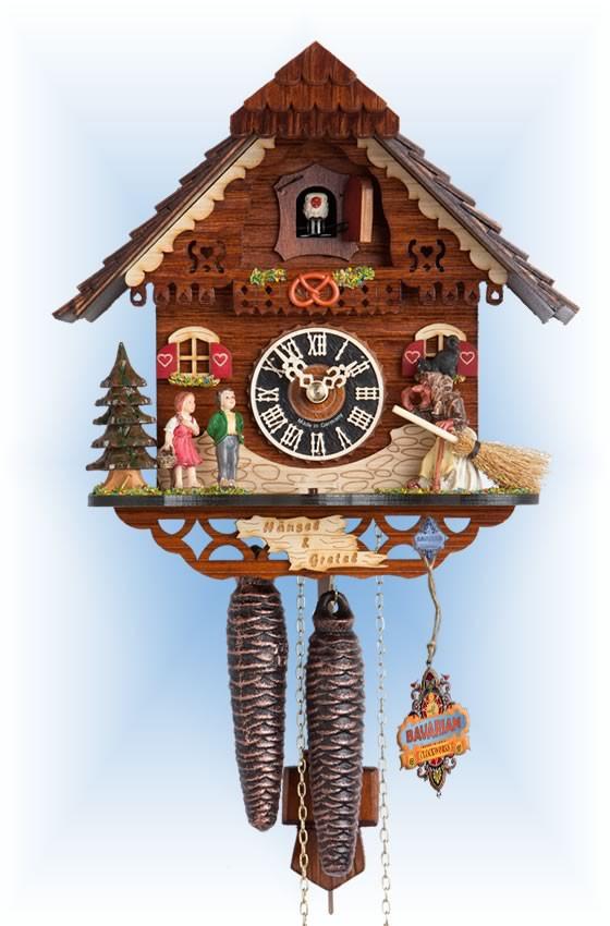 Hones   1213   9''H   Hansel & Gretel   Chalet style   cuckoo clock   full view