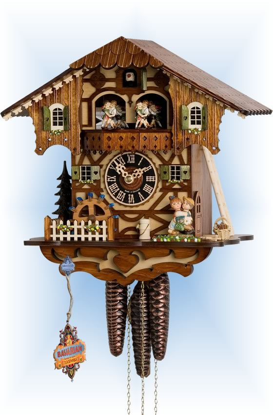 Hones   6205t   11''H   First Kiss   Chalet style   cuckoo clock   full view