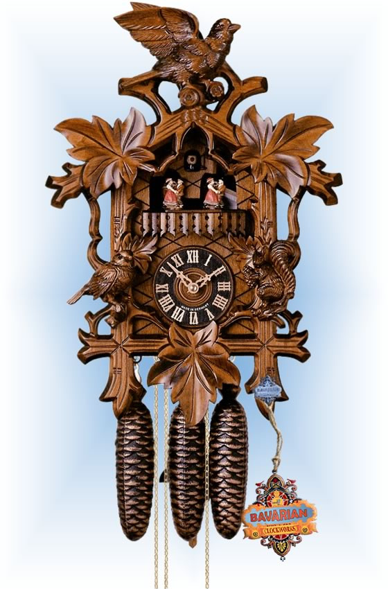 Hones | 8633-4tnu | 17''H | Squirel and Leaf | Traditional | cuckoo clock | full view