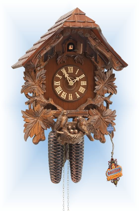 Rombach & Haas | 3461 | 15''H | Bird Nest House | Chalet style | cuckoo clock | full view