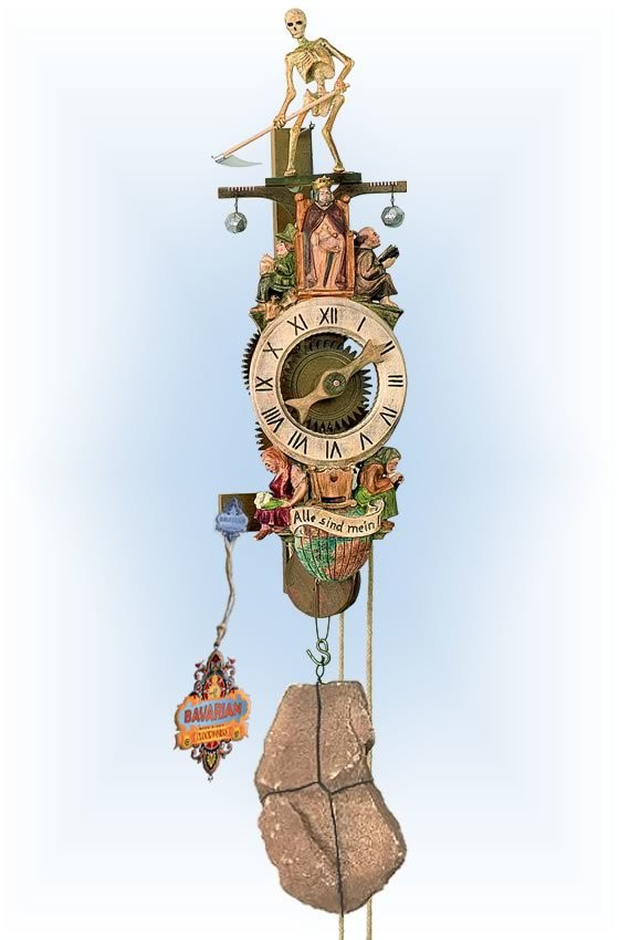 Rombach & Haas | 7641 | 18''H | Medevil Reaper | Traditional | wall clock | full view