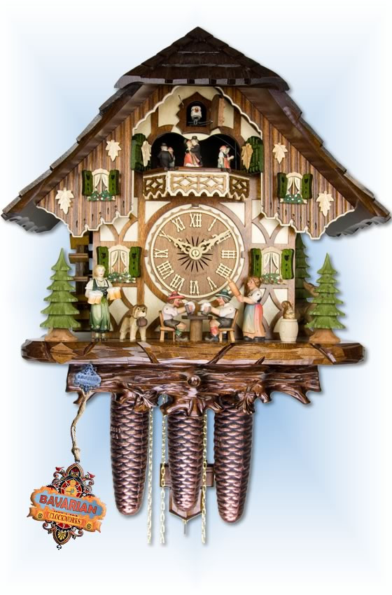 Adolf Herr | 821-12-8tmt | 16''H | Tipsy Brothers | Chalet style | cuckoo clock | full view
