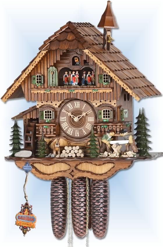 Hekas   3728/8   18''H   Sawmill   Chalet style   cuckoo clock   full view