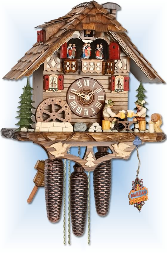 Drinkers Chalet cuckoo clock by Hekas | Chalet | 6C8-3729/8 | full