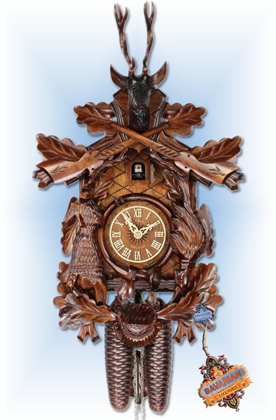 Adolf Herr  385-1-8T   19''H   After The Hunt II   Traditional   cuckoo clock   full view
