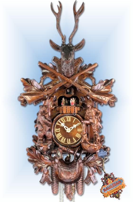 Adolf Herr | 674/1-8TMT | 32''H | Big Bear Hunter | Traditional | coo coo clock | full view